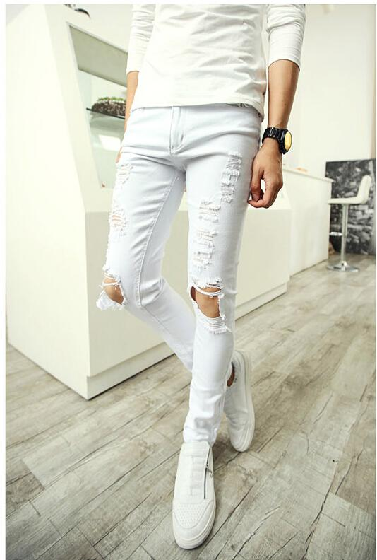 men skinny white jeans - Jean Yu Beauty