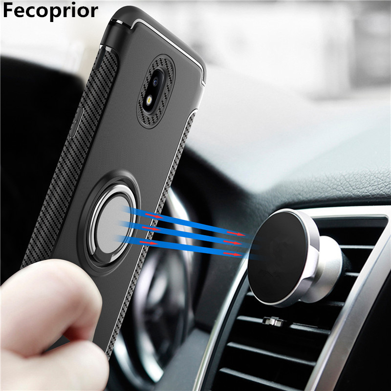 Galleria fotografica Fecoprior J330 Ring Case For Samsung Galaxy J330 J3 2017 Car Holder Suction Back Cover Stand Hard PC Silicon Celulars Coque