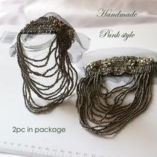 2pcs/set black tassel Beaded epaulette for clothes Punk Coat Suit DIY Fashion Tassel Badge Epaulets Shoulder Patches appliques