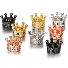 Wholesale(5pcs/lots) CZ Crown Beads DIY Copper Metal Micro Pave Cubic Zirconia Crown Spacer Beads for Beaded Men Bracelet mixed wholesale micro pave beads diy jewelry making findings copper charm spartan warrior crown skull beads for bracelet