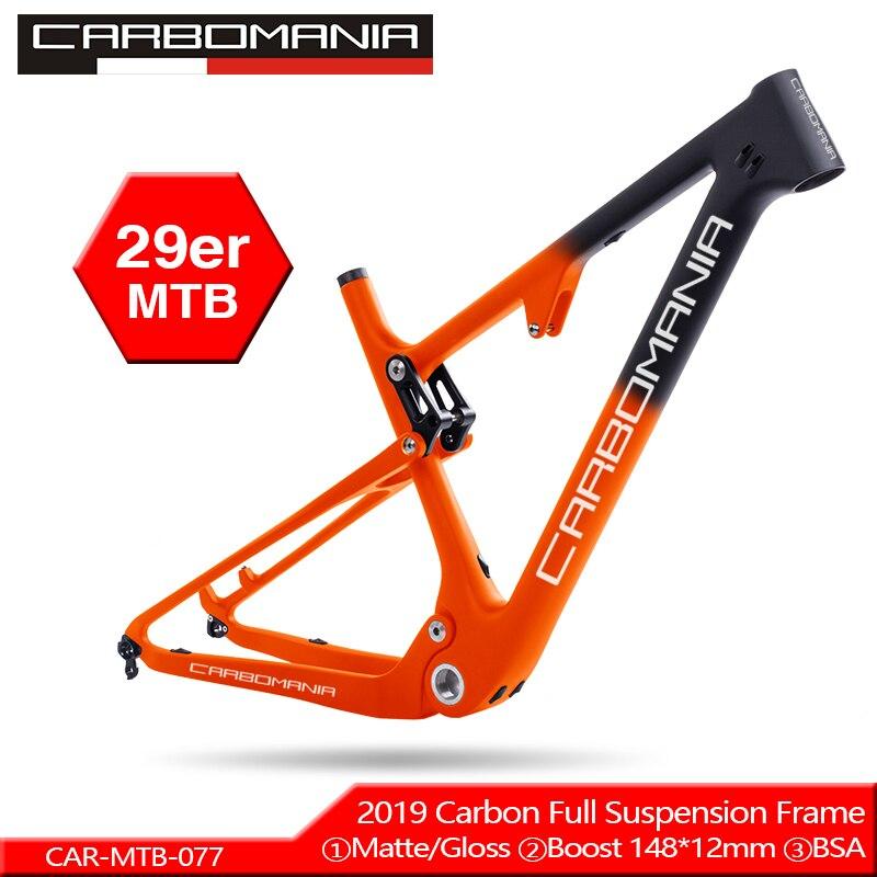 Bicicleta De Suspensão total de Carbono Quadro MTB 29er Thru AXle 12mm Downhill BMX bicicletas de montanha De Suspensão De Fibra de Carbono quadro de bicicleta 2019