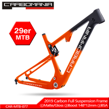 цена на Full Carbon Suspension bike Frame 29er MTB Thru AXle 12mm Carbon Fiber Suspension BMX mountain bikes Downhill bicycle frame 2019