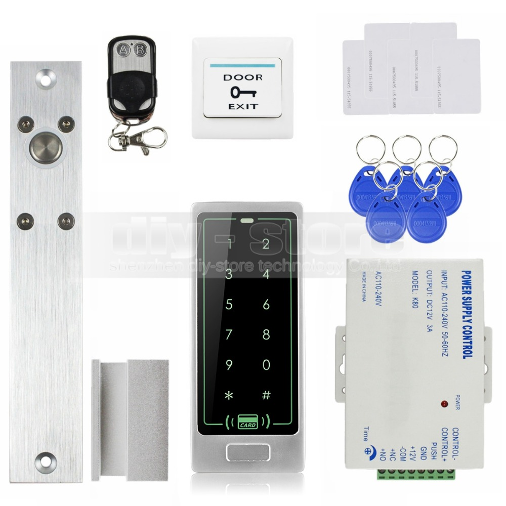 DIYSECUR Remote Control Electric Bolt Lock RFID Touch Reader Password Keypad Door Access Control Security System Kit
