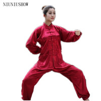 Burgundy Traditional Chinese Women Silk Satin Tai Chi Martial Arts Suit Female Vintage Button Clothing XXS