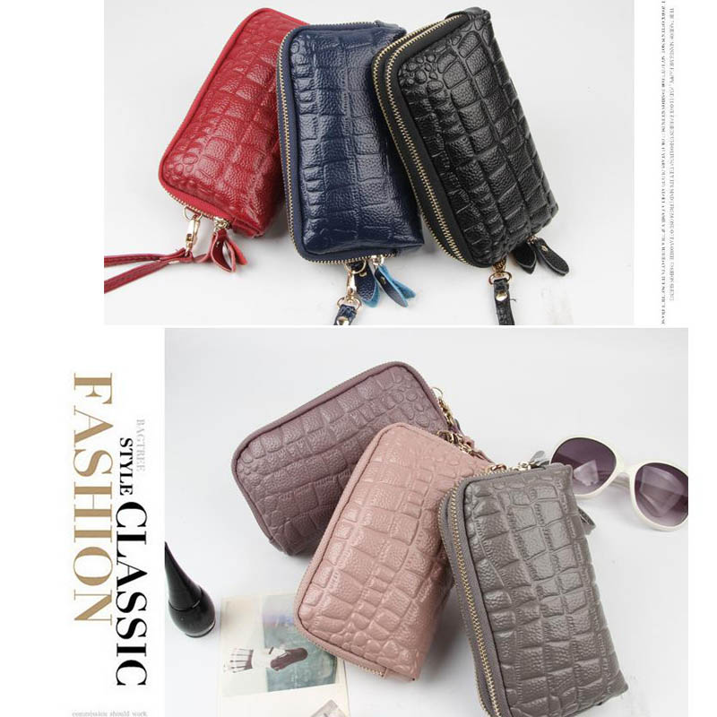 New leather cowhide ladies long wallet Korean fashion phone bag stone pattern double zipper purse 2018 launch in Wallets from Luggage Bags