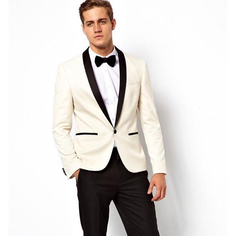 2017 Ivory Wedding Suits For Men Tuxedos Black Satin Shawl Lapel Mens Suits Slim Fit Groomsmen Suit Two Piece men Suit Jacket