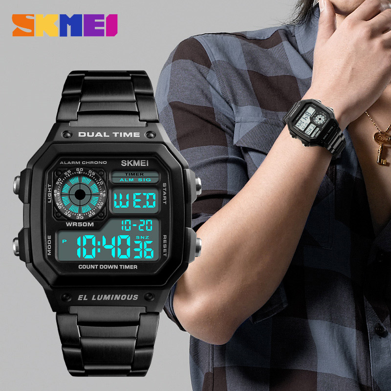 Skmei Бизнес Мужские часы водонепроницаемые повседневные часы из нержавеющей стали цифровые наручные часы Relogio Masculino Erkek Kol Saati - 6