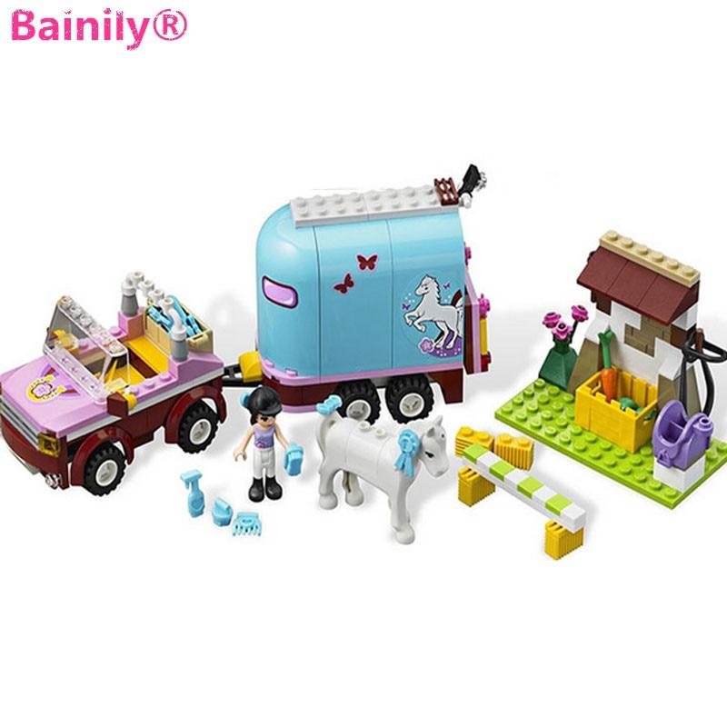 [Bainily] nuevo carro princesa Emma bloques de construcción ensamblar juguetes compatibles LegoINGly amigos para las niñas juguetes regalo