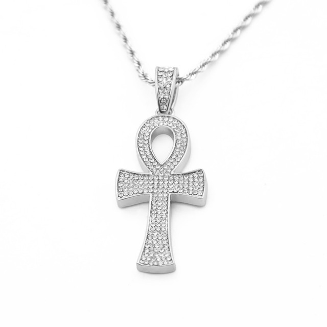 MCSAYS Hip Hop Jewelry Gold Color Ankh Cross Full CZ African Cross