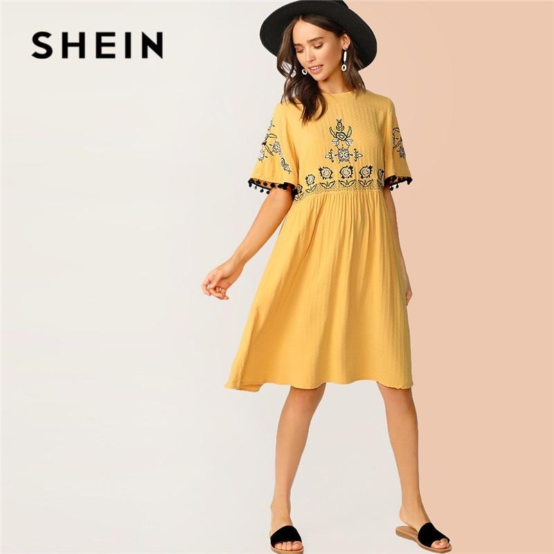 SHEIN Floral Bordado Pompom Texturizado Detalhe Midi Vestido Ocasional Das Mulheres Vestido de Manga Curta Vestido de Verão De Cintura Alta Amarela