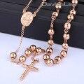 4 / 6 / 8 mm Mens cadeia Rose Gold Tone Stainless Steel Bead cadeia rosário Jesus cristo pingente cruz longo Necklacce DLKN371-374