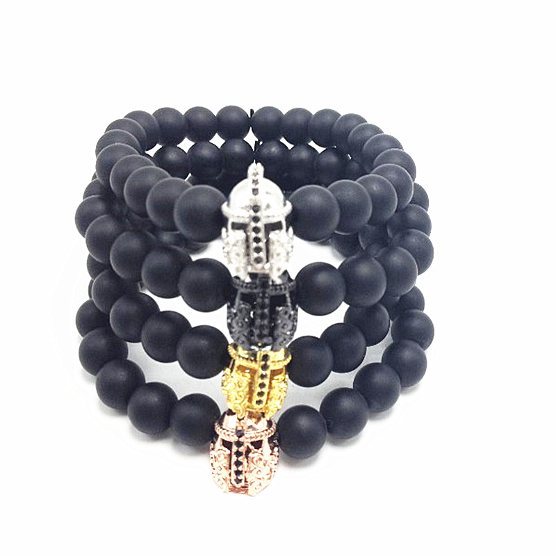 1pcs 2016 New Atolyewolf Bracelet Men Natural Matte Black Agata Beads Skull Knight Helmet WARRIOR CHARM BRACELET For men woman