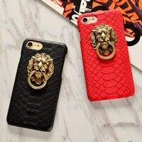 Chiński styl retro lion head pierścień klamra wąż pierścień drzwi telefon skrzynki Pokrywa dla iPhone 5 5S SE 5G 6G 6 6 s plus 7 7 plus Telefon przypadku