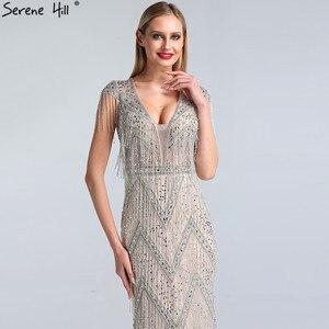 Image 5 - Ruhigen Hill Silber Perlen Quaste Luxus Abendkleider Kleider 2020 Kappe Ärmeln Meerjungfrau Elegant Für Frauen Party LA60830