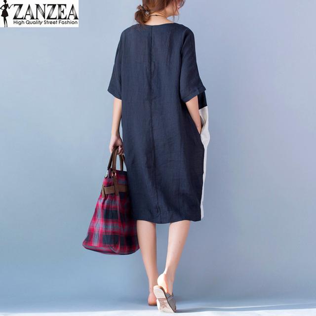Plus Size ZANZEA Womens Summer Patchwork O-Neck Short Sleeve Pockets Party Vestido 2017 Baggy Casual Long Shirt Dress Kaftan