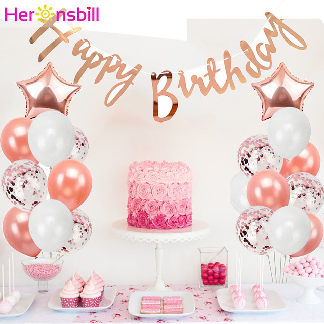 Heronsbill Rose Gold Confetti Latex Balloon Happy Birthday Party Decoration Kids Adult Foil Balloons Boy Girl Ballon Favors In Ballons Accessories From