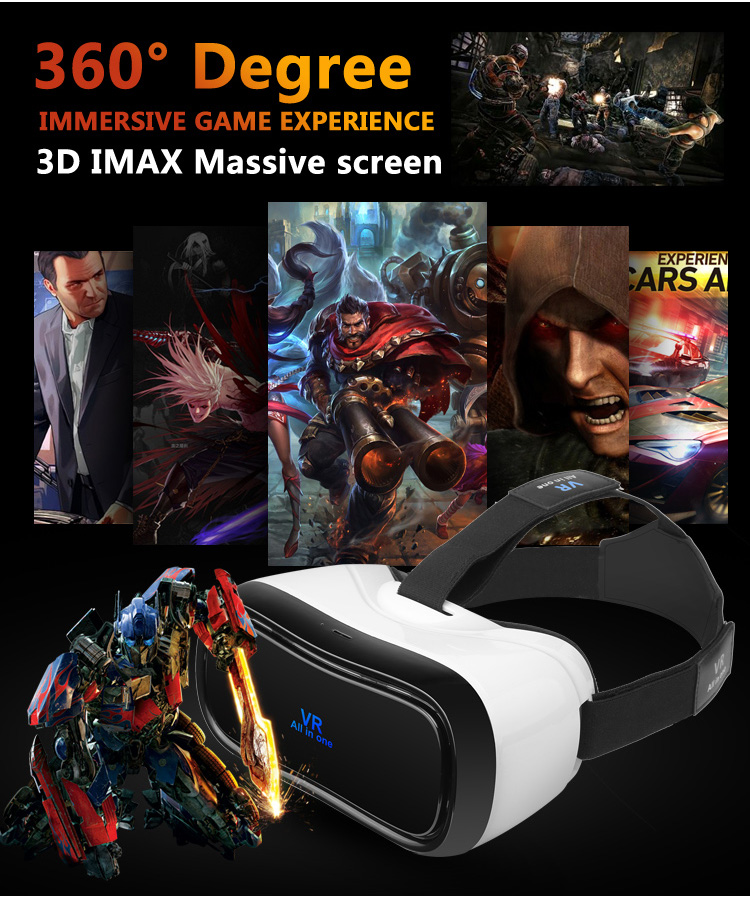 VR All in one Virtual Reality Glasses Headset 1920*1080P 5.0 Inch WiFi Bluetooth USB TF Immersive 3D Video Game Movie Headset - 5