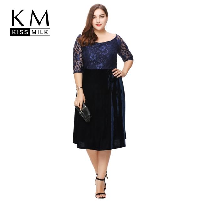 Kissmilk Plus Tamaño Ropa de Mujer de Moda Elegante Del Remiendo Del Cordón de Las Señoras vestido Bardot Midi Vestido Completa Tamaño Grande 3XL 4XL 5XL 6XL