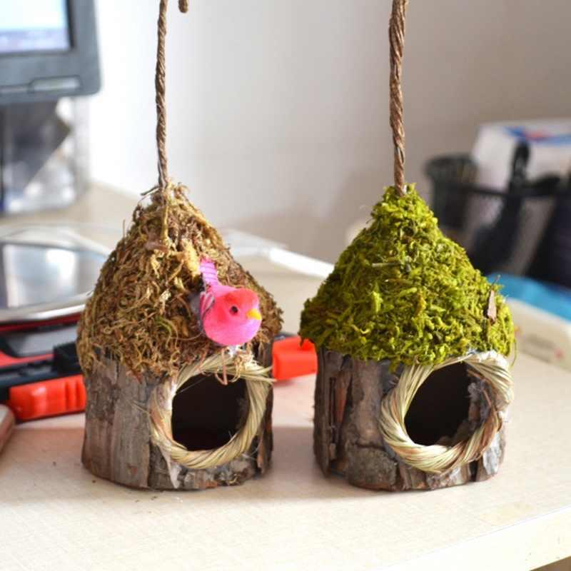 Simulation Bark Small Bird Nest Nest parrot Bird House Garden Plant Accessories Home Nature Ornaments bird Pet cage house