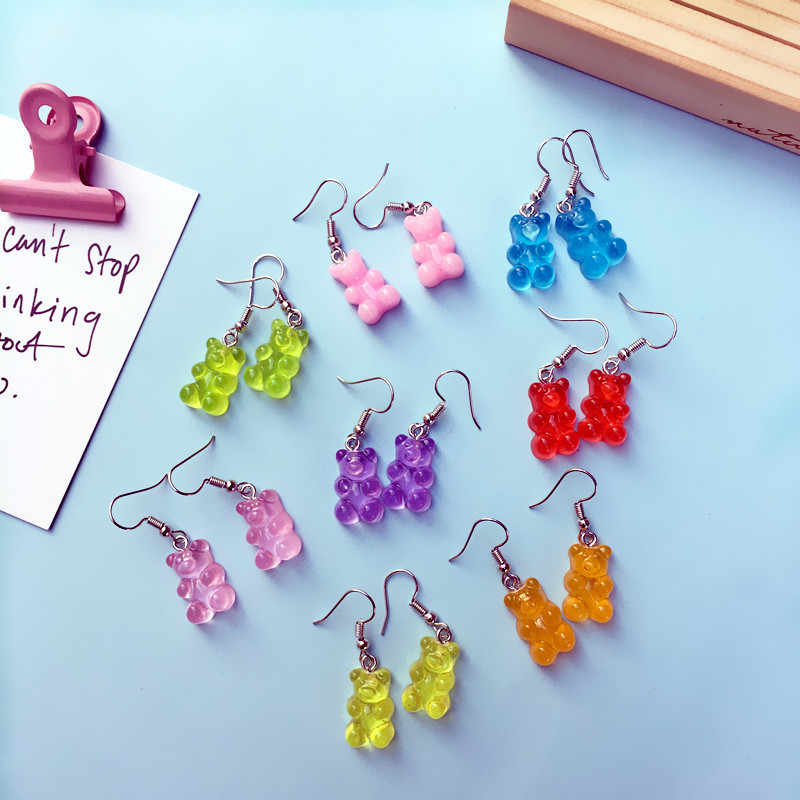 Creative Funny Cute Cartoon Bear Dangle Earring Macarons Lovely Animals Resin Earring Women Girls Jewelry Best Hook Earring