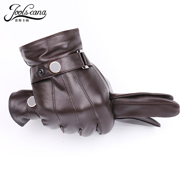 JOOLSCANA top1gloves men genuine leather winter Sensory tactical gloves fashion wrist touch screen drive autumn good quality 1