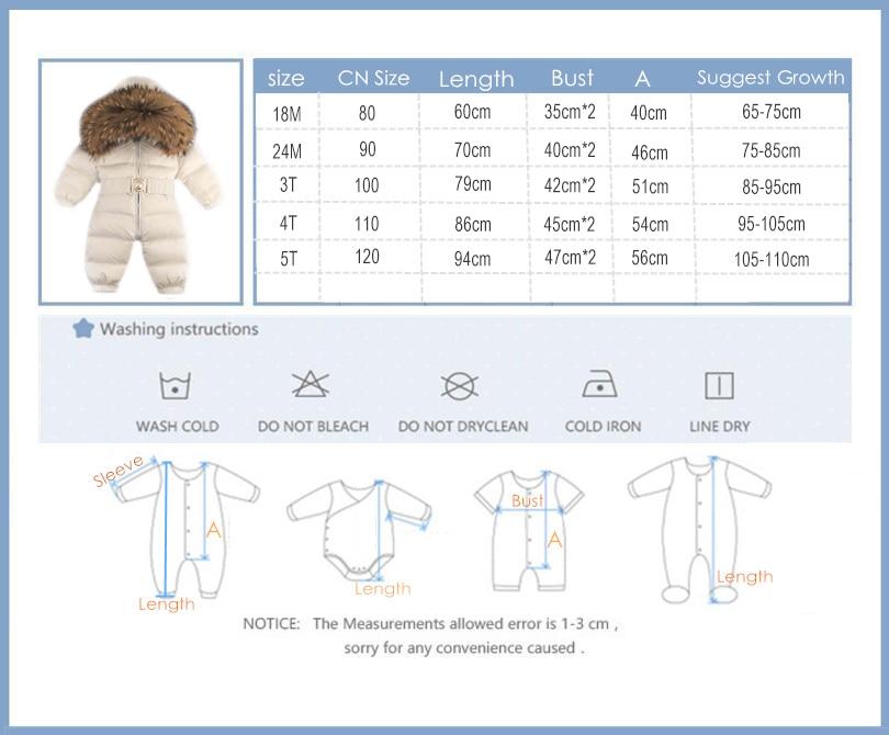Russie hiver nouveau-né capuche pour bébé grand col en fourrure garçons chaud survêtement combinaison bébé vêtements Parka neige porter filles manteaux veste - 6