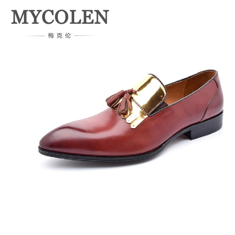 MYCOLEN New Arrivals Brand Men Shoes Leisure Genuine Leather Men Shoes For Man Fashion Slip-On Loafers Flat Driving Moccasins men s full grain leather shoes casual crocodile driving shoes slip on boat shoes fashion moccasins for men s loafers new quality