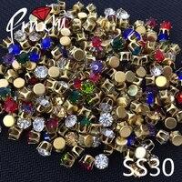 Nuovo prodotto 288 pz colori Della Miscela Strass Cuce sulla Pietra 6mm Oro Claw 4 fori usa per Gli Accessori di abbigliamento commercio all'ingrosso