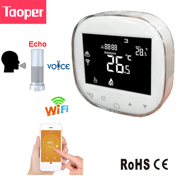 US $37 95 31% OFF|WiFi Smart Thermostat Echo Alexa Voice Control Water  Floor Heating Room Temperature Controller 3A 100 240V Weekly  Programmable-in
