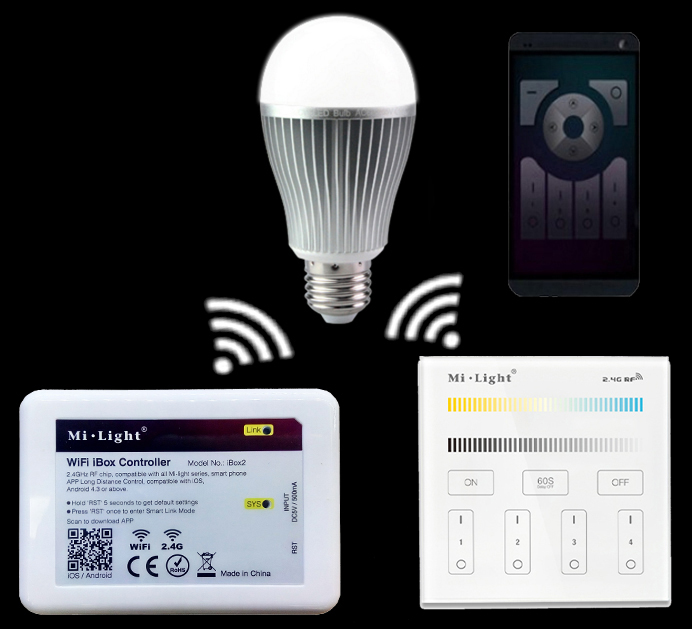 Mi.light E27 9W Color Temperature Led Bulb Lamp AC85-265V+WIFI Ibox2 Led Controller With APP+2.4G B2/T2 Remote Controller dhl ems free shipping 5pcs lot 9w e27 color temperature and brightness adjustable led bulb with remote 2 4g wifi compatible