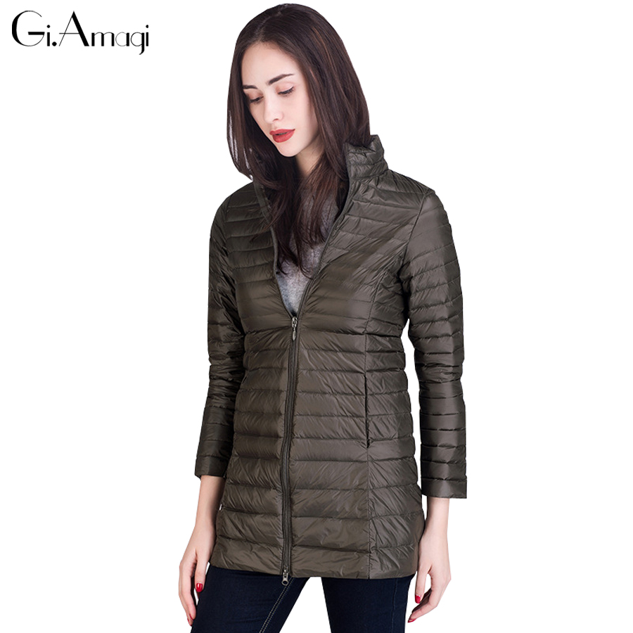 European Winter Ultra Light Down Jacket Women 2017 New Stand Collar Thin Slim Large Yards Lightweight Down Jackets