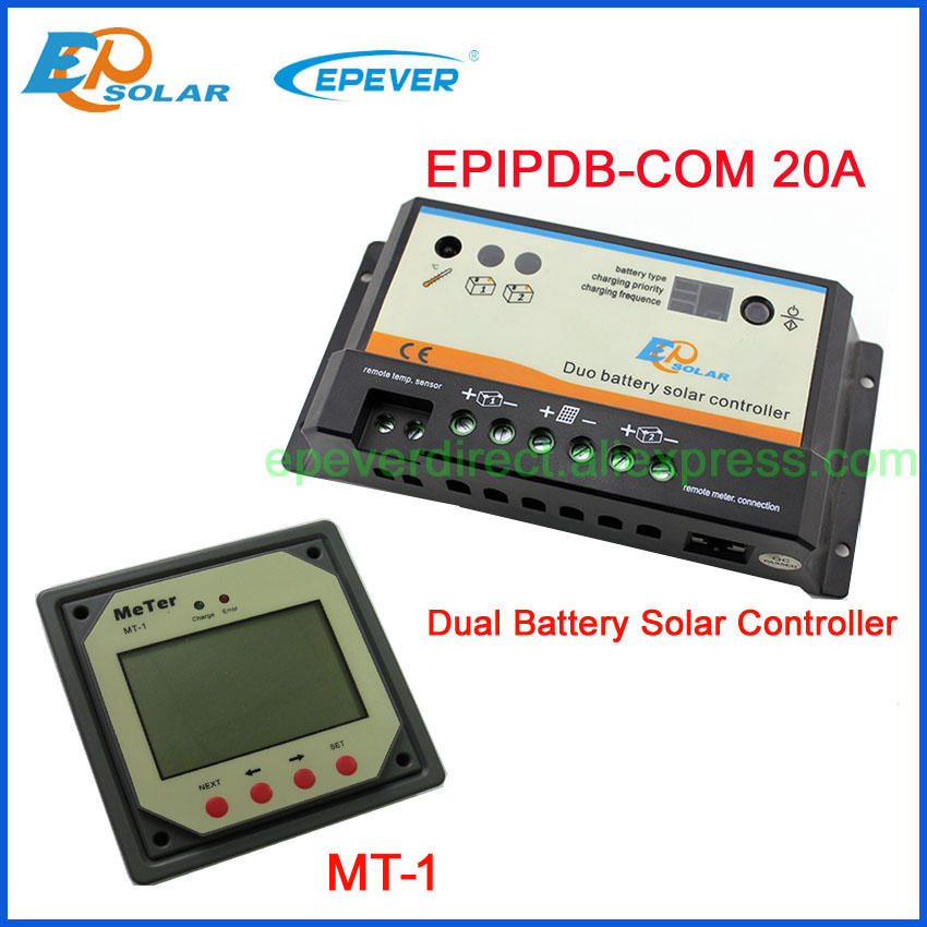EPEVER PWM solar controller new series Two Battery Charger EPIP-COM controller with MT-1 20A 12V/24V automatic work 10pcs lot isl6563cr isl6563 6563cr two phase multiphase buck pwm controller with integrated mosfet drivers