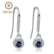 GEMS BALLETT Natürliche Blaue Saphir Edelstein Tropfen Ohrringe Echtem 925 Sterling Silber Edlen Schmuck Für Frauen Hochzeit