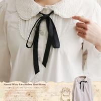 Spring Autumn Mori Girl Sweet Shirt Women S White Peter Pan Collar Full Sleeved Bow Embriodery