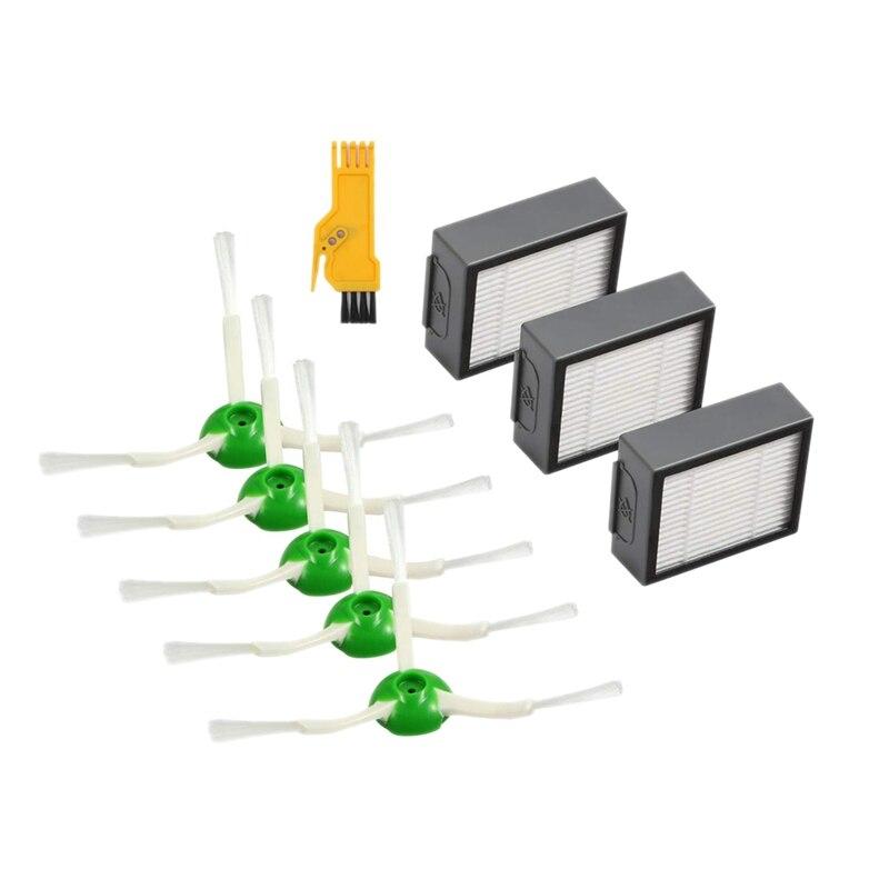 Piezas de Repuesto 3 uds filtros y 5 uds cepillos de barrido de bordes para Irobot I7 y I7 + (I7-3 Uds filtro)