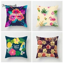 Fuwatacchi Tropical Plant Printed Cushion Cover Rose Palm Tree Pillow Flamingo hawaii  Decorative Pillowcase for Home Sofa