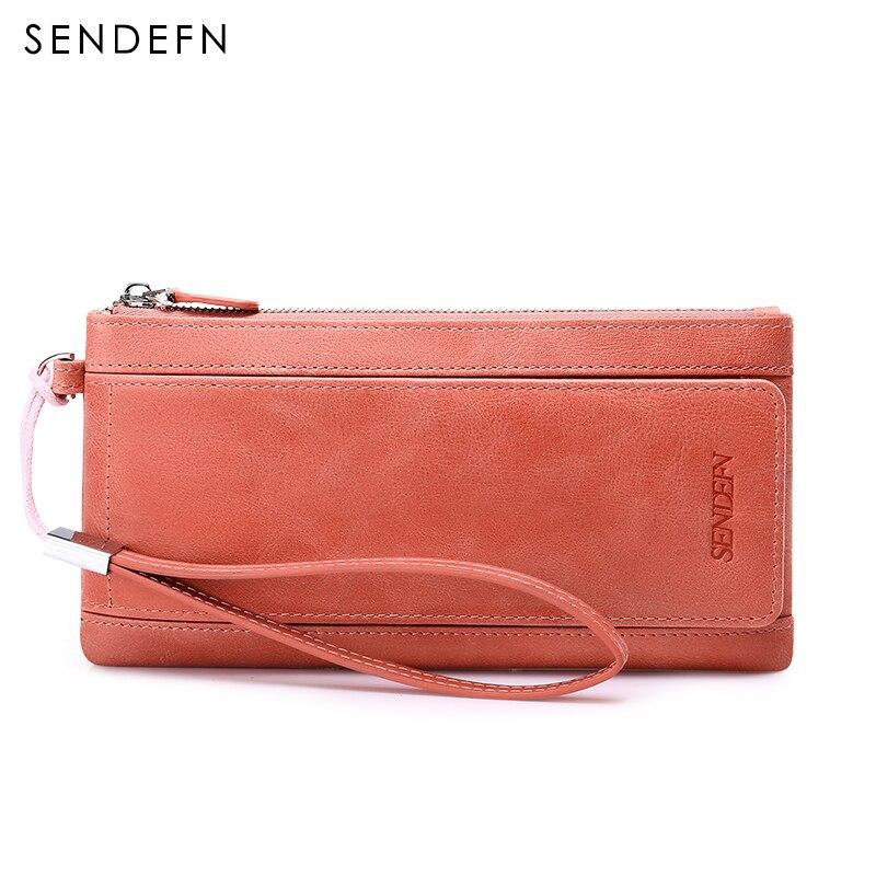 Sendefn vintage genuine leather women wallets long casual lady credit card holder organizer wallet