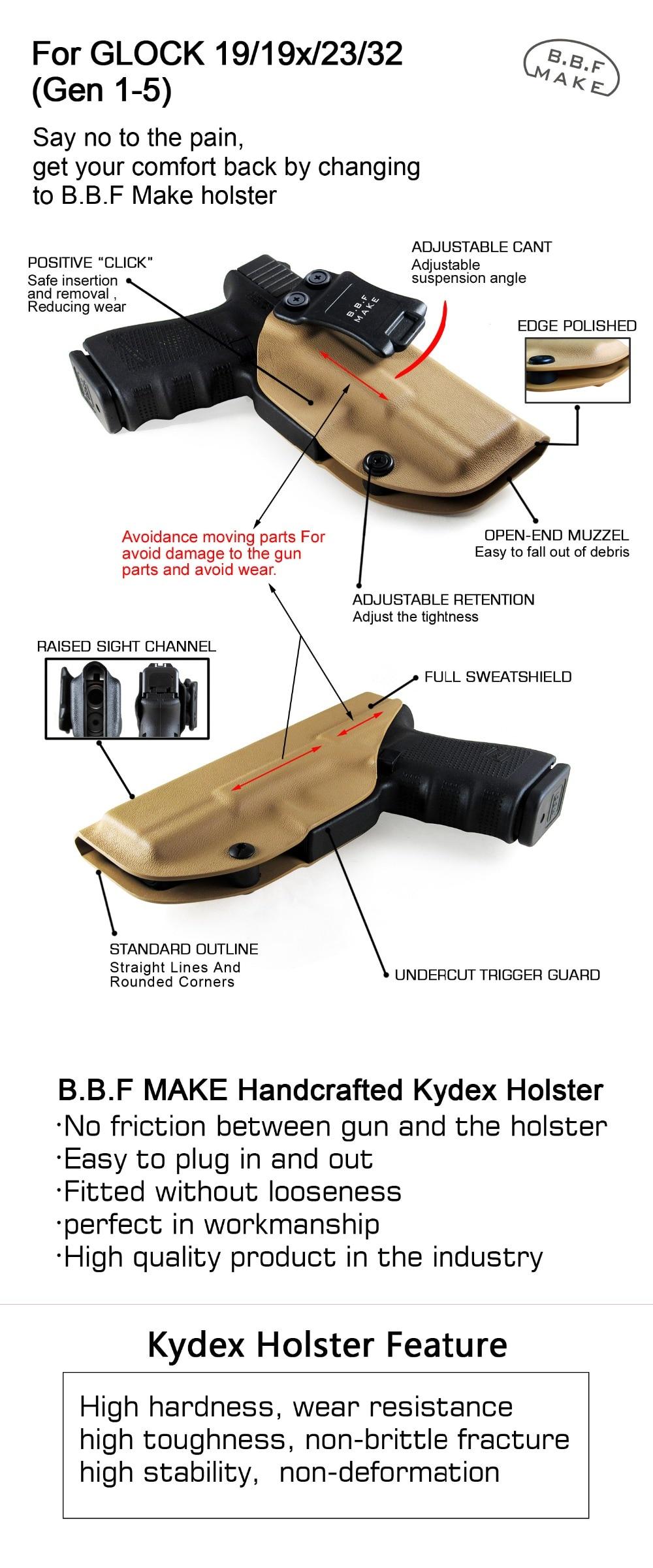 B B F Make IWB Tactical KYDEX Gun Holster Glock 19 17 25 26 27 28 43 22 23  31 32 Inside Concealed Carry Pistol Case Accessories