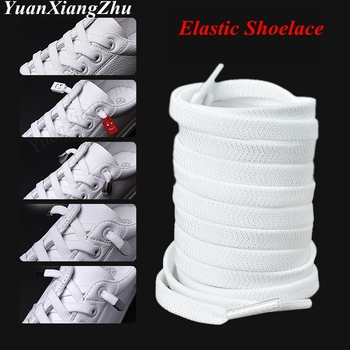 1Pair Flat Elastic Shoelaces White/Black No Tie Kids Adult Unisex Sneakers Shoelace Quick Lazy Laces Strings