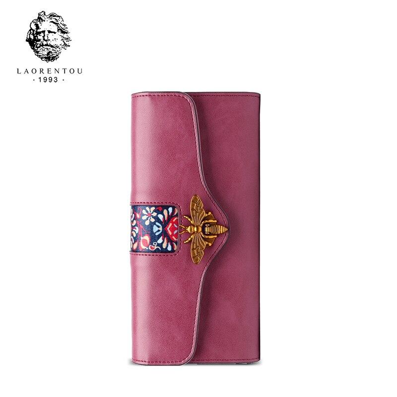 LAORENTOU Women Clutch Bags Split Leather Wallets Fashion Ladies Long Wallet Stylish Long Purse Clutch Wallets for Women