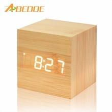 Timer-Calendar Alarm-Clock Desk Voice-Control Wooden Digital Led Home-Decor Square ABEDOE