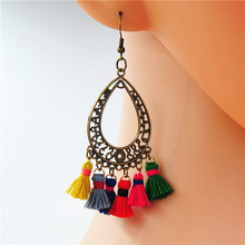 1 Pair Gypsy Colorful Cotton Tassel Pompom Balls Dangle/Drop Earrings For Women Boho Circle Waterdrop Earrings Statement Jewelr pair of gorgeous gemstone embellished waterdrop shape earrings for women