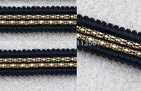 20yards Craft Black Braided Trim 2 Row Gold Chain Trim Decorated Ribbon Trim For Wedding Clothes