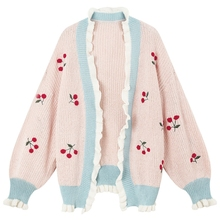 cac935e37cd97 Womens Autumn Thin Sweater Cardigans Plus Size Sweet Starwberry Embroidery  Kawaii Patchwork Sweater Knitted Wear Female