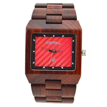 BEWELL Luxury Brand Wooden Watches for Men Square Dial All Wood Strap Simple and Dress Watch for Male with Paper Gift Box W016A