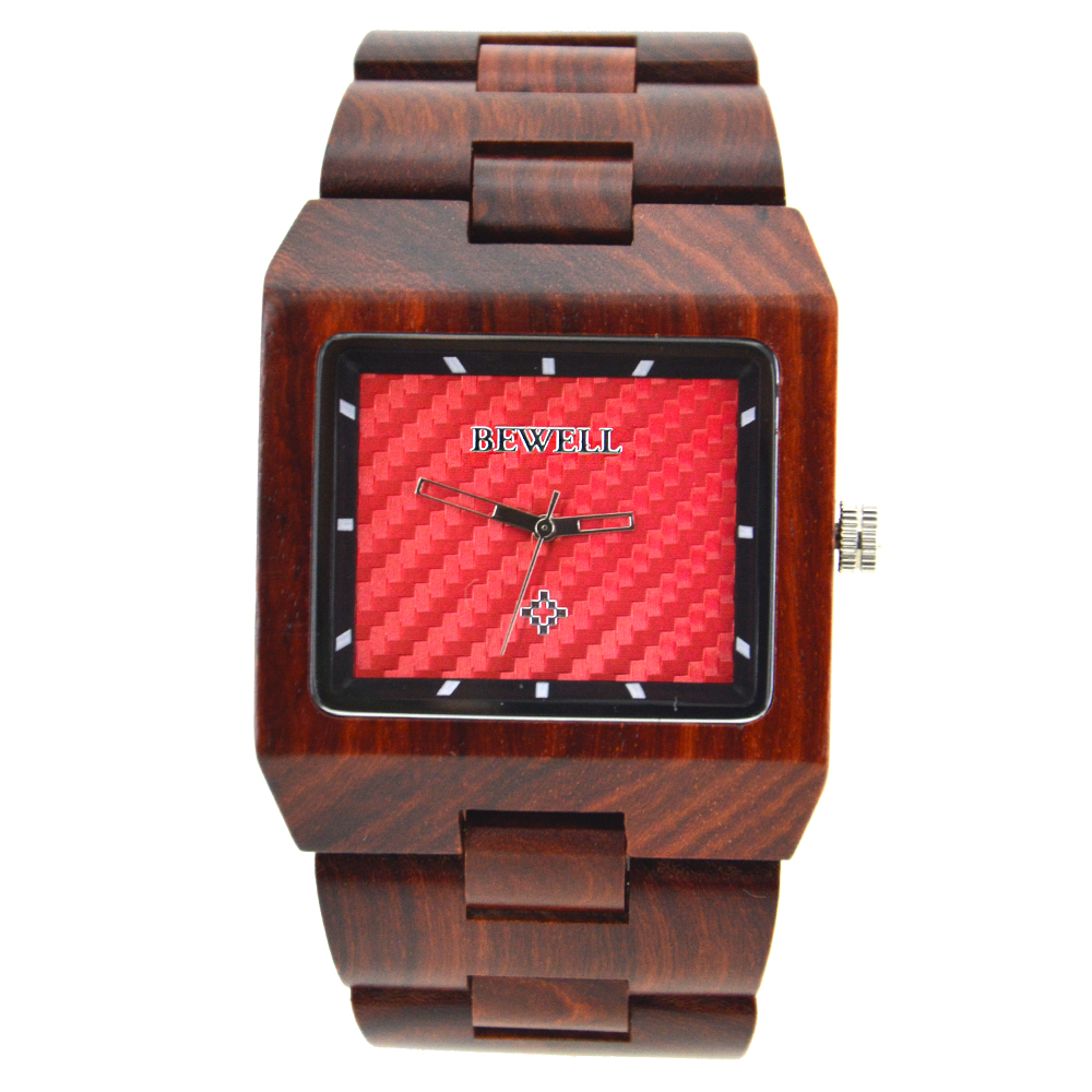 BEWELL Luxury Brand Wooden Watches for Men Square Dial All Wood Strap Simple and Dress Watch for Male with Paper Gift Box 016A men wooden watch for male quartz wristwatches sandalwood strap calendar clock luxury brand wood watch with gift box friend 100bg
