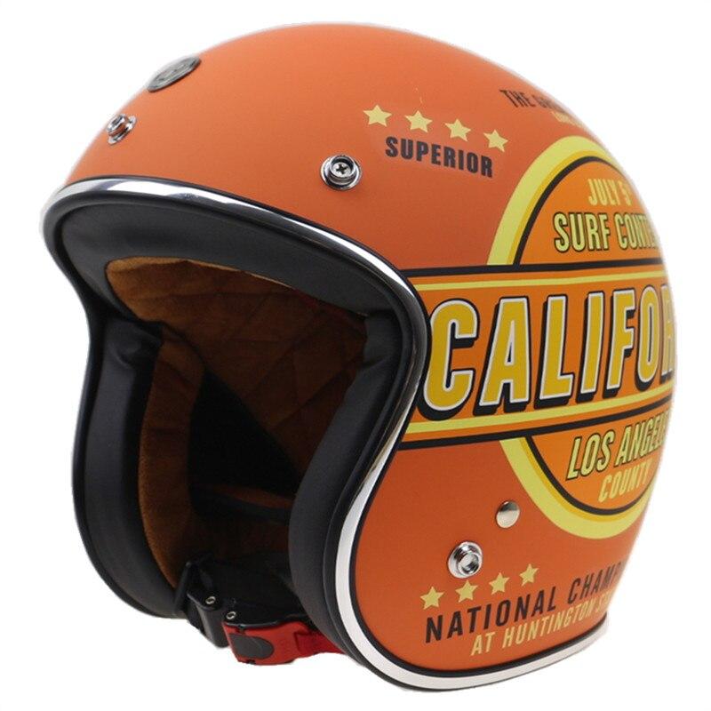 Новое Прибытие Стиль Ретро Старый мотоцикл велосипед шлем открытым лицом шлем с ремешками, очки и козырек DOT утвержден мотоцикл шлем