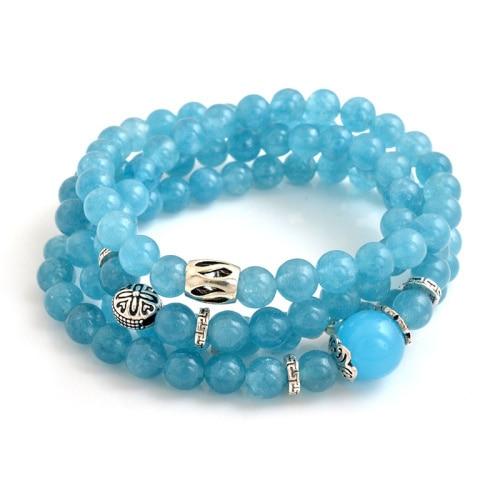Blue Semi precious Stone Beaded Sterling Silver Jewelry Bracelet For Women GSB K001