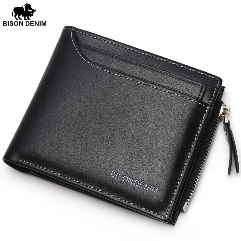 BISON DENIM Men's Wallet Business Card Holder Made Of Genuine Leather Clutch Male Coin Purse N4370-5B bison denim vintage designer 100