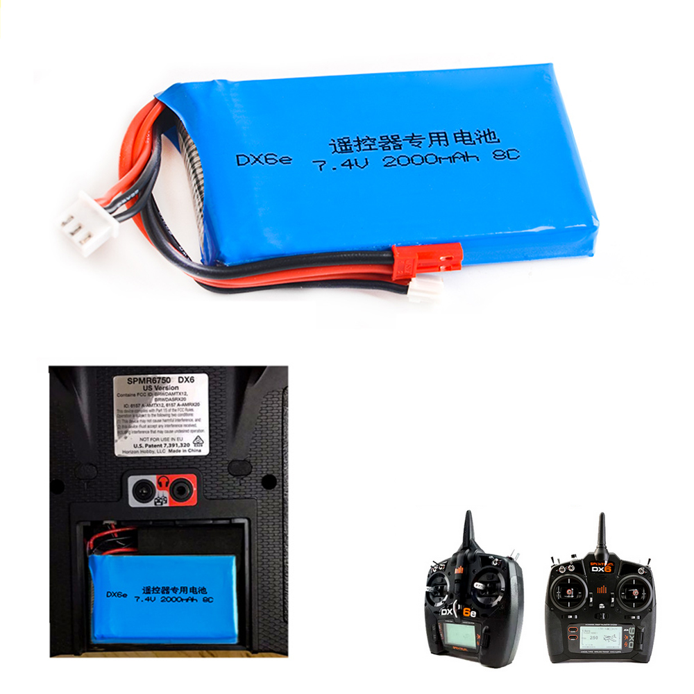 1pcs Lipo Battery 2S 7.4V 2000MAH 8C Lipo Battery For Spektrum DX6E DX6 Transmitter